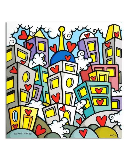 Aleandro Roncarà - Love town - 40x40 cm